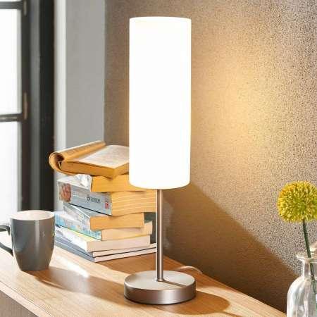Lindby Úzka stolná lampa Vinsta biele sklenené tienidlo
