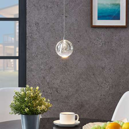 Lucande LED závesná lampa Hayley, sklená, 1 svetlo, chróm