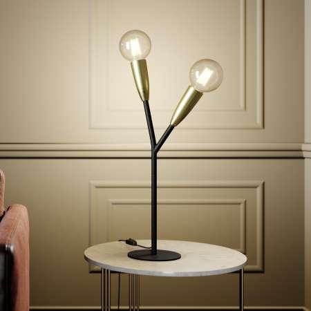 Lucande Lucande Carlea stolová lampa, 2 sv., čierna/mosadz