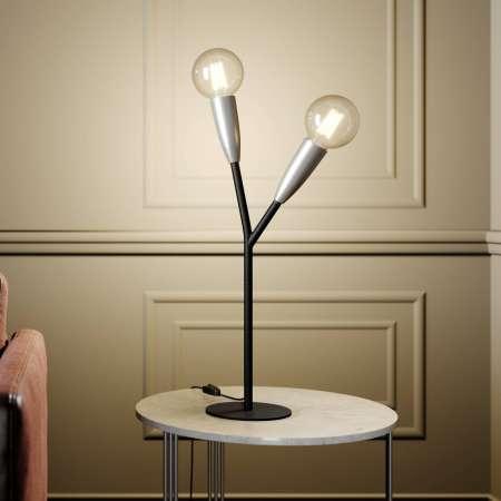Lucande Lucande Carlea stolová lampa, 2 sv. čierna/nikel