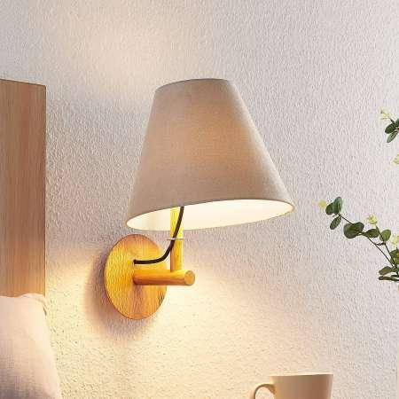 Lucande Lucande Jinda nástenná lampa, drevo, sivá