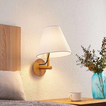 Lucande Lucande Jinda nástenná lampa, drevo, textil biely