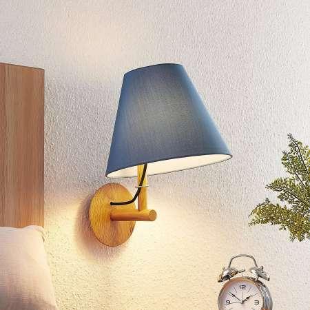 Lucande Lucande Jinda nástenná lampa, drevo, textil modrý