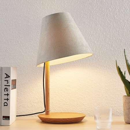 Lucande Lucande Jinda stolná lampa, drevo, sivá