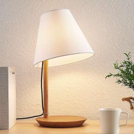 Lucande Lucande Jinda stolná lampa, drevo, textil biely