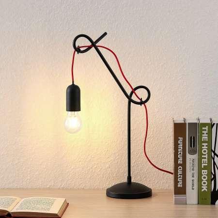 Lucande Lucande Jorna stolná lampa v čiernej kábel červený