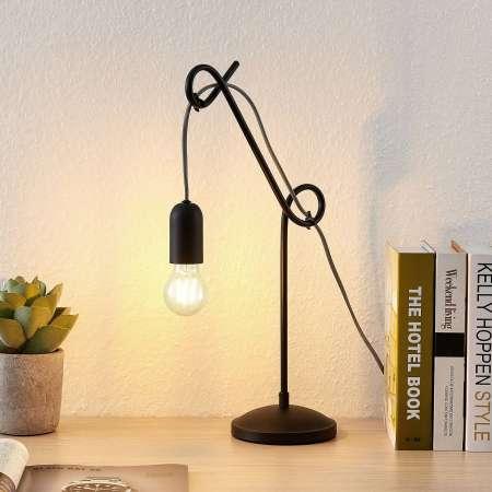 Lucande Lucande Jorna stolná lampa v čiernej, kábel sivý