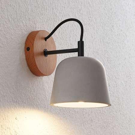 Lucande Lucande Kalinda nástenné svetlo, betón a drevo