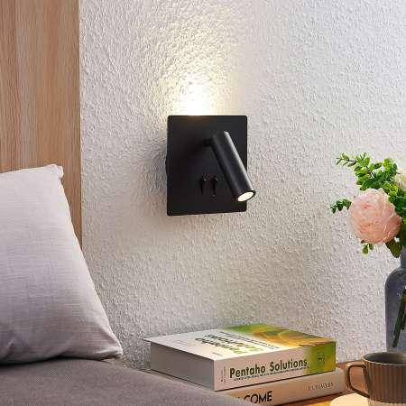 Lucande Lucande Magya nástenné LED, čierne 2-pl, štvorec