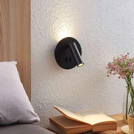 Lucande Lucande Magya nástenné LED, čierne 2-pl. okrúhle