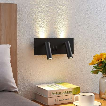 Lucande Lucande Magya nástenné LED svietidlo čierne. 4-pl.