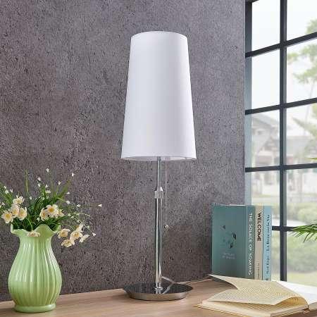 Lucande Lucande Pordis stolná lampa, chróm-biela