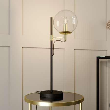 Lucande Lucande Sotiana stolová lampa, sklená guľa, mosadz
