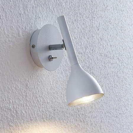 Lucande Nástenná lampa Nordwin z kovu, bielo-strieborná