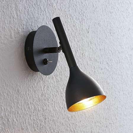 Lucande Nástenná lampa Nordwin z kovu, čierno-zlatá