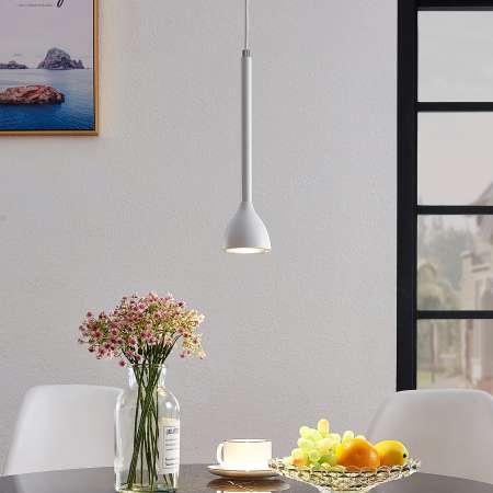 Lucande Závesná lampa Nordwin, 1 svetlo, bielo-strieborná