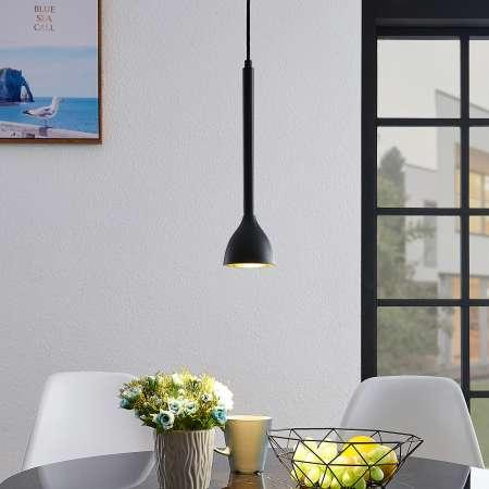 Lucande Závesná lampa Nordwin, 1 svetlo, čierno-zlatá