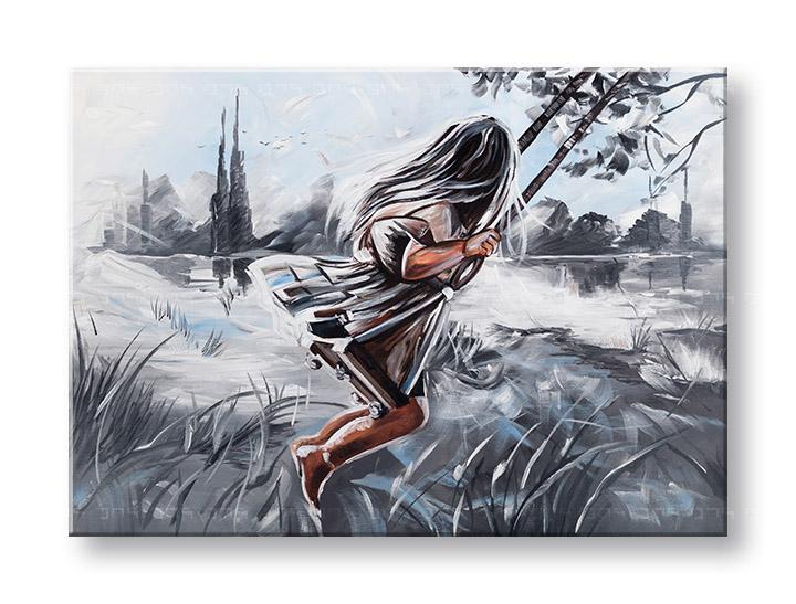 Maľovaný obraz na stenu DIEVČA 1 dielny YOBFB575E1