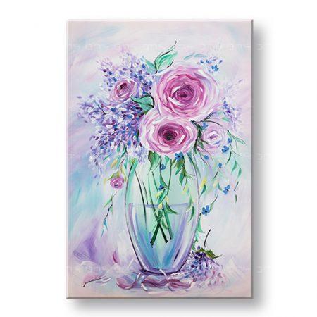 Maľovaný obraz na stenu KVETY 1 dielny YOBAM056E1