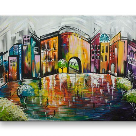 Maľovaný obraz na stenu MESTO YOBFB540E1