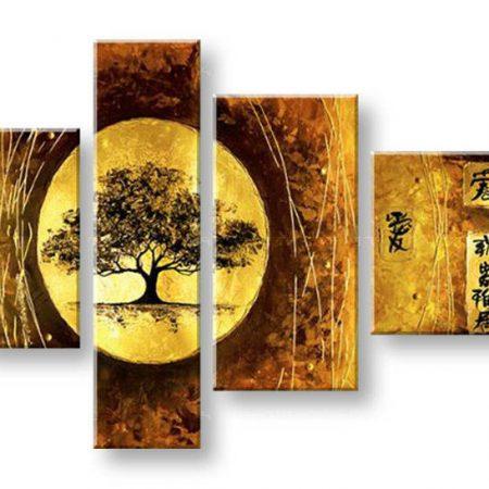 Maľovaný obraz na stenu STROM 4 dielny NU0024E4