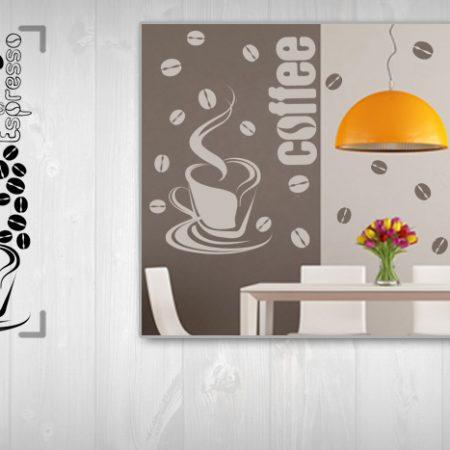 Nálepka na stenu KÁVA 50x100 cm NAKA028 - tmavohnedá farba