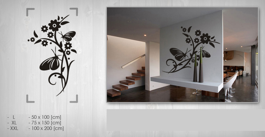 Nálepka na stenu KVETY 50x100 cm NAK047 - čierna farba
