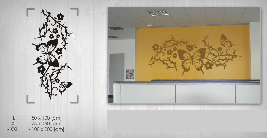 Nálepka na stenu KVETY NAK055 75x150 cm – čierna farba