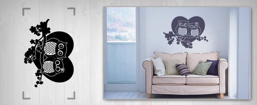 Nálepka na stenu SOVY 50x100 cm NASO11 - čierna farba
