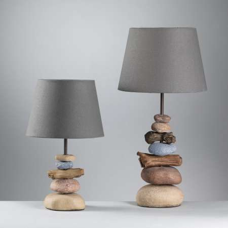 ONLI Stolná lampa Vera, látkové tienidlo a kameň, 38cm