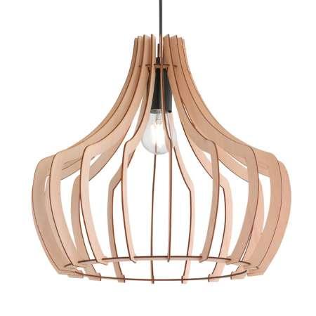 Reality Leuchten Drevená závesná lampa Wood, 38,5 cm