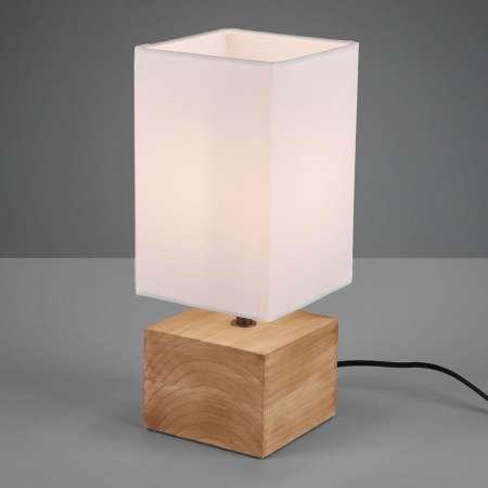 Reality Leuchten Stolná lampa Woody s dreveným podstavcom 12cmx12cm