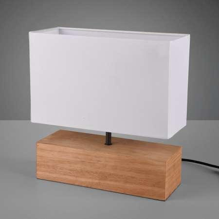 Reality Leuchten Stolná lampa Woody s dreveným podstavcom 30cmx12cm