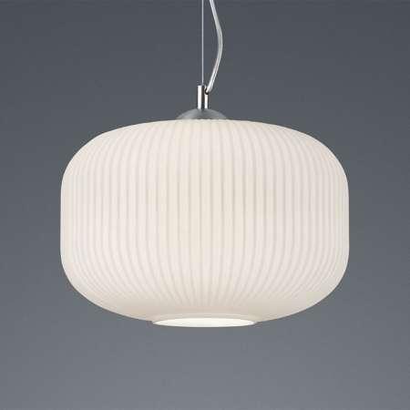 Reality Leuchten Závesná lampa Kilian so skleneným tienidlom, biela