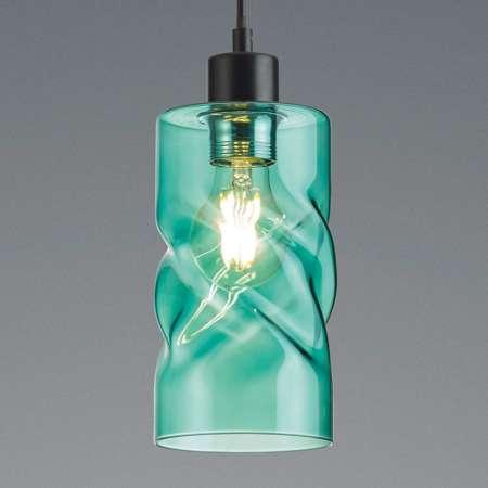 Reality Leuchten Závesná lampa Swirl zo skla 1-pl. tyrkysová