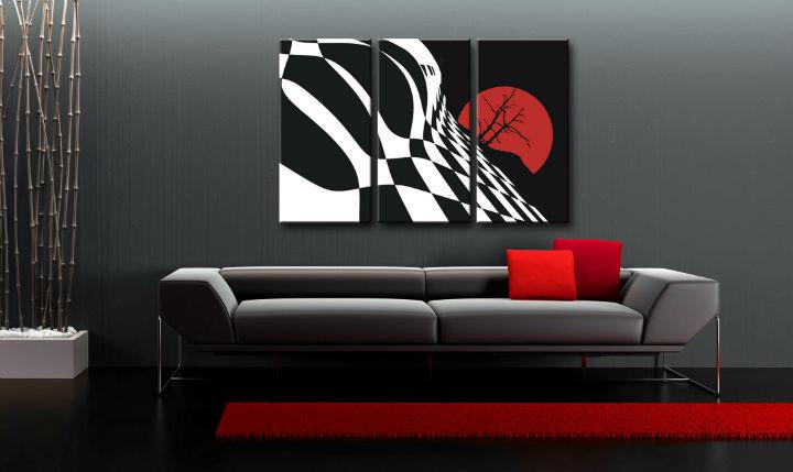 Ručne maľovaný POP Art obraz Abstract Chessboard 3 dielny  fl
