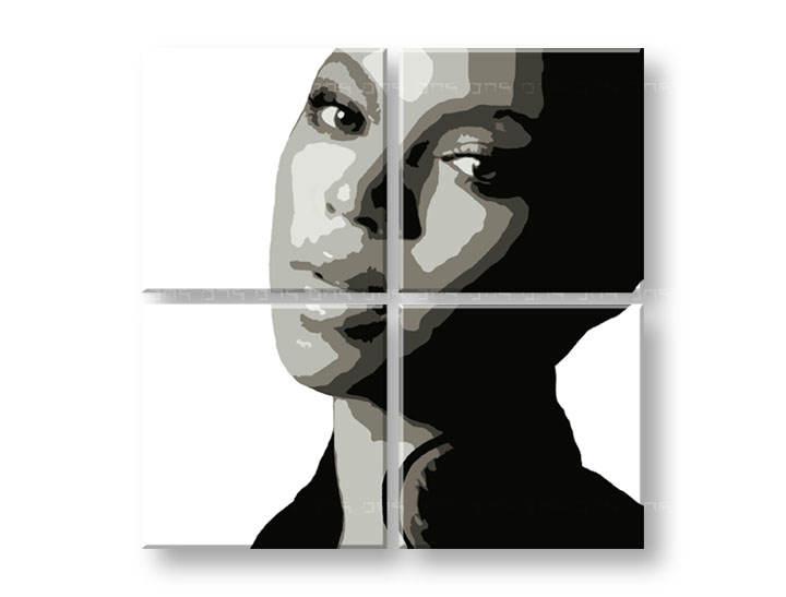Ručne maľovaný POP Art obraz BEYONCÉ 4 dielny  bey