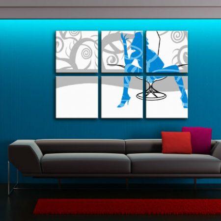 Ručne maľovaný POP Art obraz  Blue Woman 6 dielny  bw