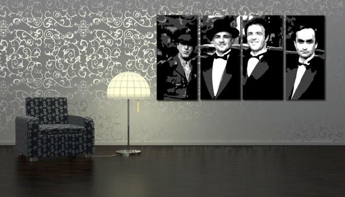 Ručne maľovaný POP Art obraz Corleone Family 4 dielny  cor