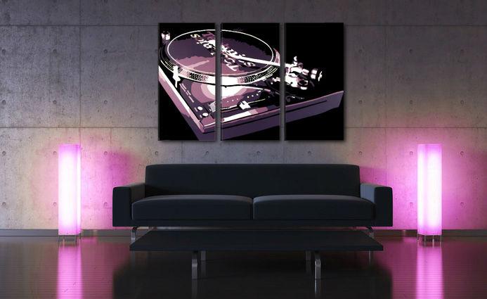 Ručne maľovaný POP Art obraz DJ 3 dielny  dj