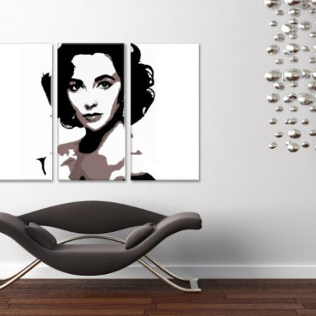 Ručne maľovaný POP Art obraz Elizabeth Taylor 3 dielny  et2