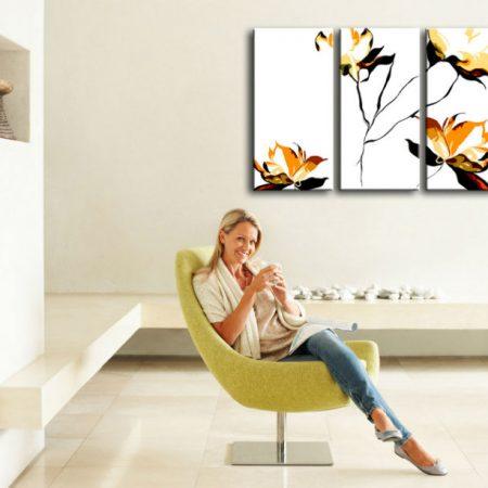 Ručne maľovaný POP Art obraz  FLOWER 3 dielny  flo