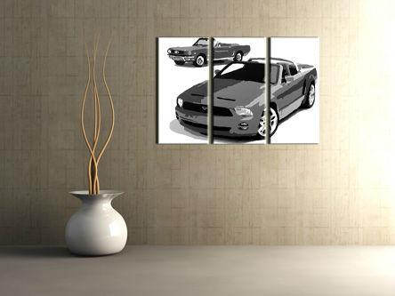 Ručne maľovaný POP Art obraz FORD MUSTANG 3 dielny  fm2