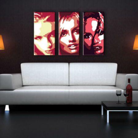 Ručne maľovaný POP Art obraz Faces 3 dielny  fac