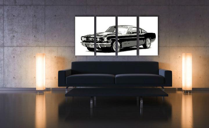 Ručne maľovaný POP Art obraz Ford Mustang 4 dielny  fm