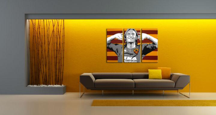 Ručne maľovaný POP Art obraz Francesco Totti 3 dielny  tot
