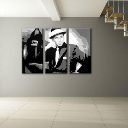Ručne maľovaný POP Art obraz Frank Sinatra 3 dielny  sin