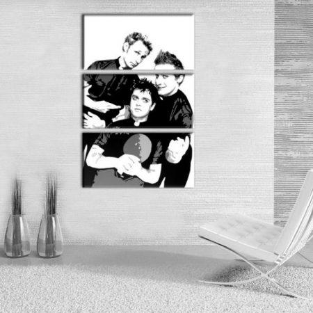 Ručne maľovaný POP Art obraz Green Day 3 dielny  gd