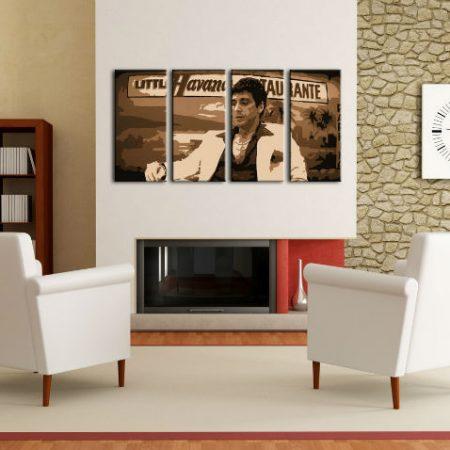Ručne maľovaný POP Art obraz HAVANA - AL PACINO 4 dielny  al17