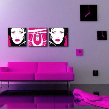 Ručne maľovaný POP Art obraz I-GIRL 3 dielny  pw